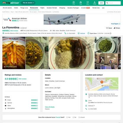 La Fiorentina, Rio de Janeiro - Leme - Restaurant Reviews, Photos & Phone Number - TripAdvisor