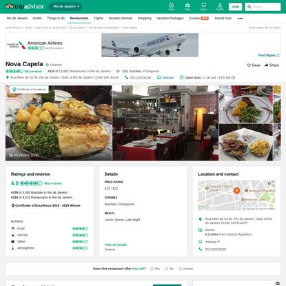 Nova Capela, Rio de Janeiro - Centro - Restaurant Reviews, Photos & Phone Number - TripAdvisor