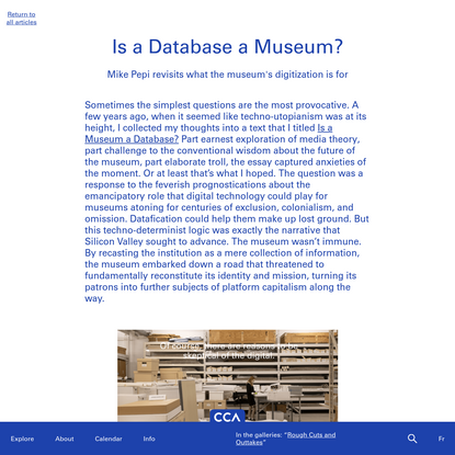 Is a Database a Museum?