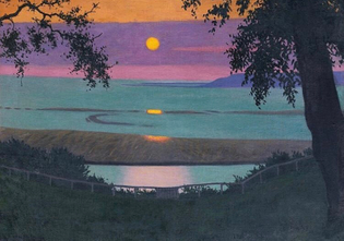 Sunset At grace, orange and violet sky by Vallotton