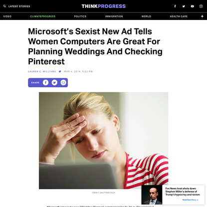 Microsoft's Sexist New Ad Tells Women Computers Are Great For Planning Weddings And Checking Pinterest