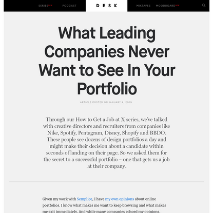 What Leading Companies Never Want to See In Your Portfolio - DESK Magazine