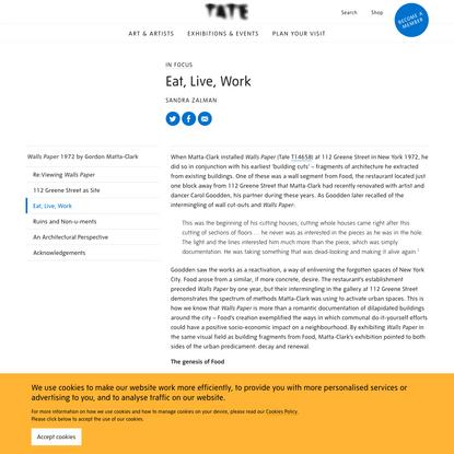 Gordon Matta-Clark: Eat, Live, Work - In Focus | Tate
