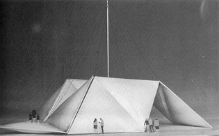 A suspendended, inflatable, motorized pavilion entitled Kinetic Roof by Event Structures Research Group.