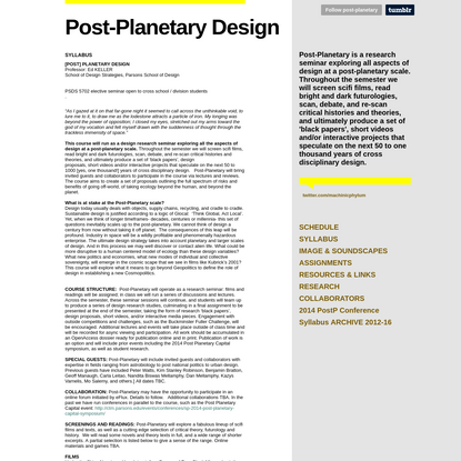 Post-Planetary Design