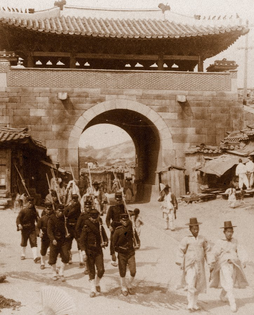 Japanese soldiers patrolling in Korea, early 1900s