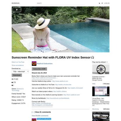 Sunscreen Reminder Hat with FLORA UV Index Sensor