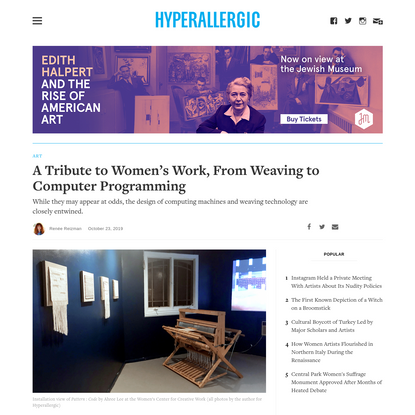 A Tribute to Women's Work, From Weaving to Computer Programming