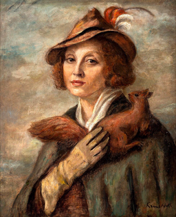 lady with a squirrel (portrait of maria brydzinska), by roman kramsztyk (1935-1936)