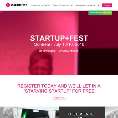 Startupfest - Montreal July 13-16, 2016