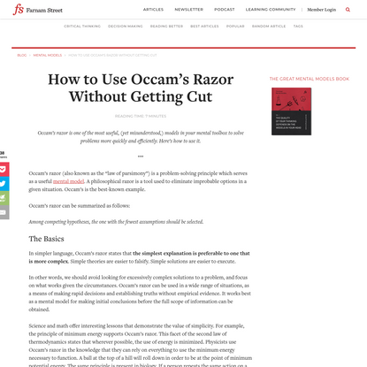 How to Use Occam's Razor Without Getting Cut