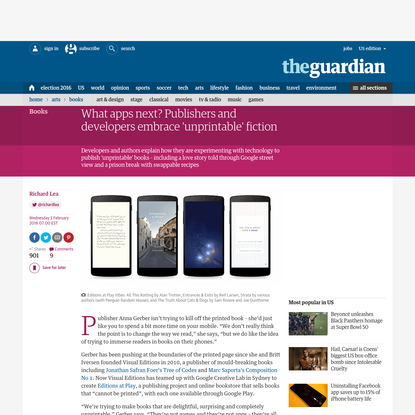 What apps next? Publishers and developers embrace 'unprintable' fiction