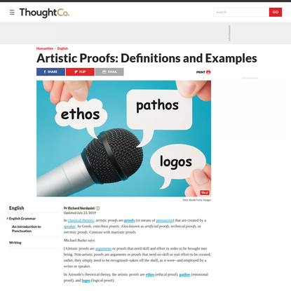 Artistic Proofs in Rhetoric: Ethos, Pathos, and Logos