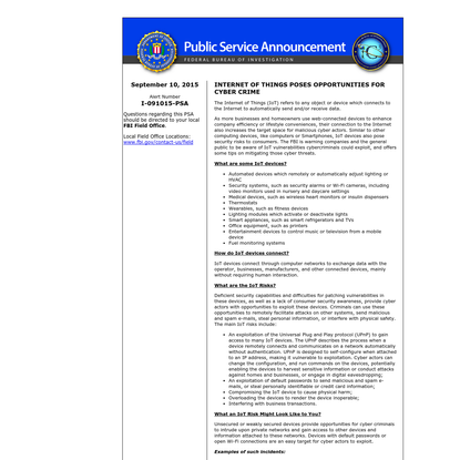 Internet Crime Complaint Center (IC3)   Internet of Things Poses Opportunities for Cyber Crime