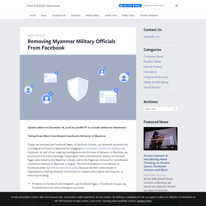 Removing Myanmar Military Officials From Facebook