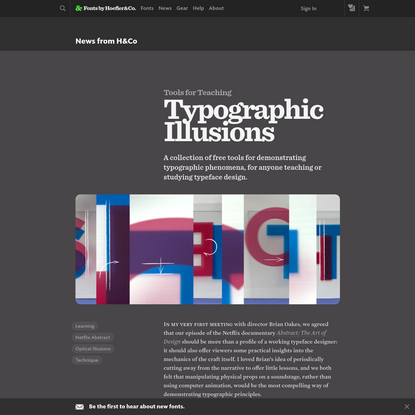 News from H&Co | Typographic Illusions | Fonts by Hoefler&Co.