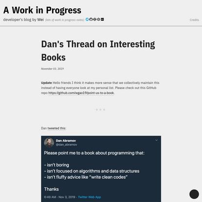 Dan's Thread on Interesting Books