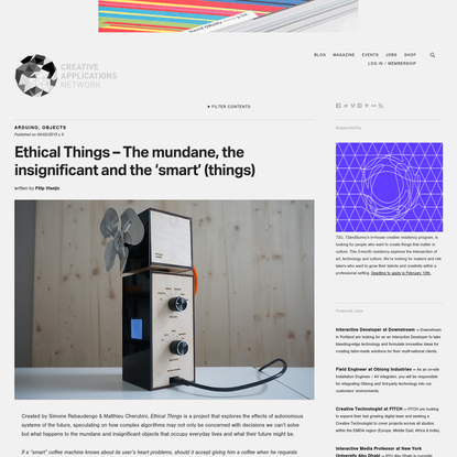 Ethical Things - The mundane, the insignificant and the 'smart' (things)