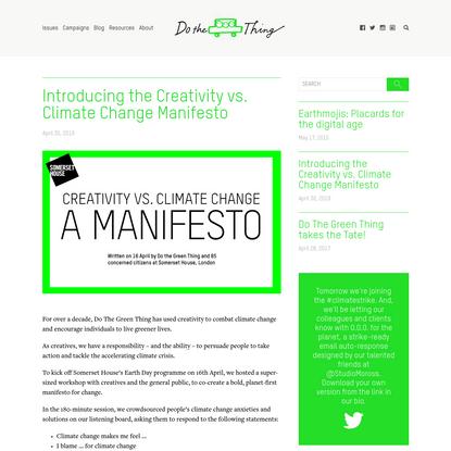 Introducing the Creativity vs. Climate Change Manifesto