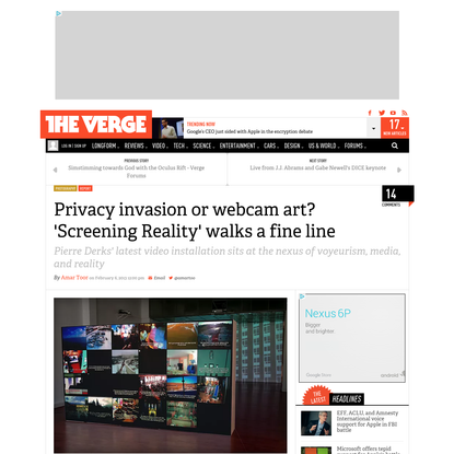 Privacy invasion or webcam art? 'Screening Reality' walks a fine line