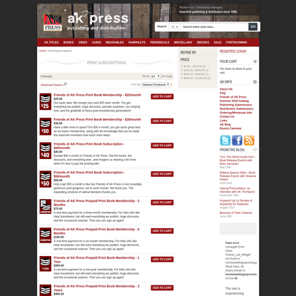 Print Subscriptions | AK Press