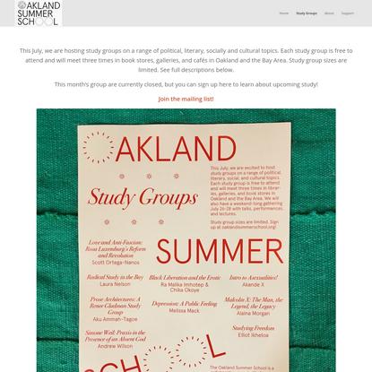Study Groups - Oakland Summer School