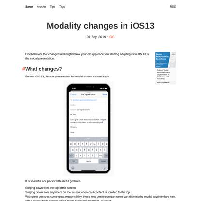 Modality changes in iOS13 | Sarun