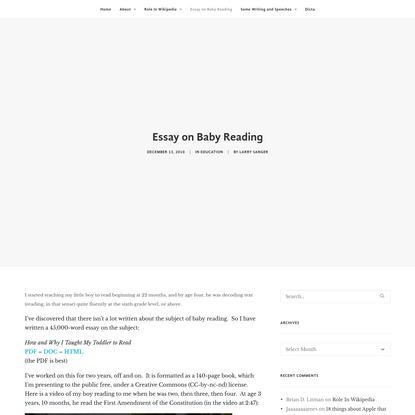 Essay on Baby Reading