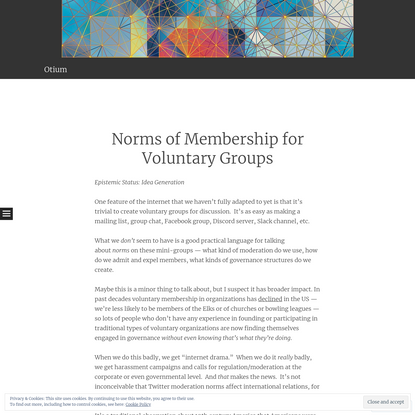 Norms of Membership for Voluntary Groups