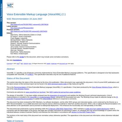 Voice Extensible Markup Language (VoiceXML) 2.1