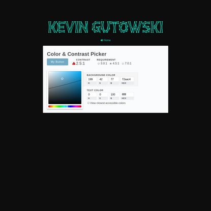 Accessible Color Spaces - Color Contrast Tool | Kevin Gutowski