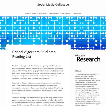 Critical Algorithm Studies: a Reading List