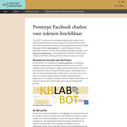 Prototype Facebook chatbot voor iedereen beschikbaar