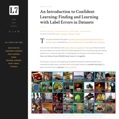 An Introduction to Confident Learning: Finding and Learning with Label Errors in Datasets