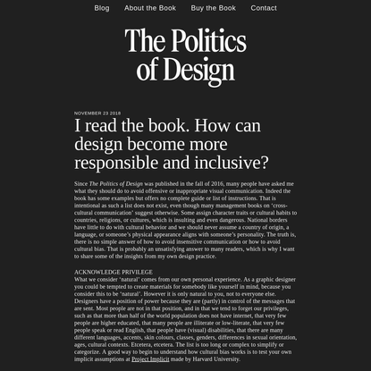 The Politics of Design — I read the book. How can design become more responsible and inclusive?