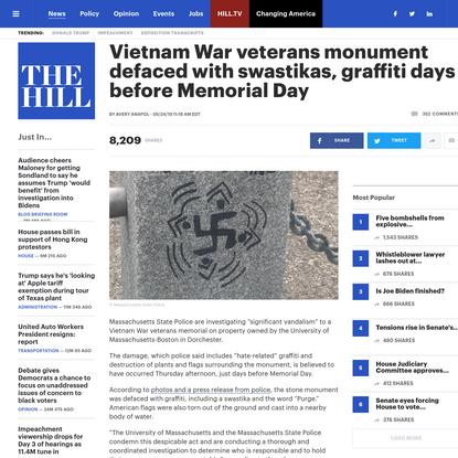 Vietnam War veterans monument defaced with swastikas, graffiti days before Memorial Day