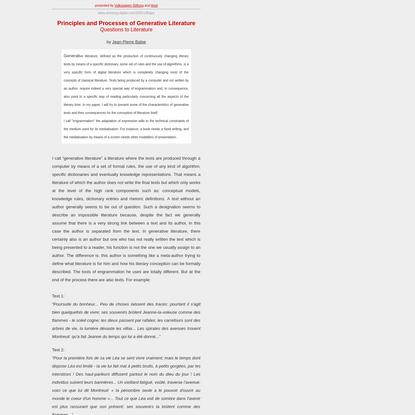Jean-Pierre Balpe: Principles and Processes of Generative Literature.