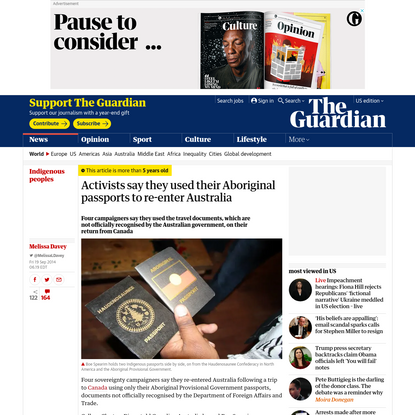 Activists say they used their Aboriginal passports to re-enter Australia