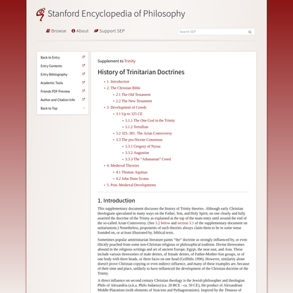 Trinity > History of Trinitarian Doctrines (Stanford Encyclopedia of Philosophy)