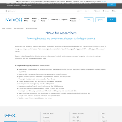 NVivo for Researchers   NVivo