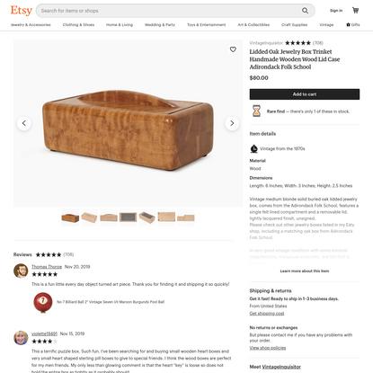 Lidded Oak Jewelry Box Trinket Handmade Wooden Wood Lid Case Adirondack Folk School