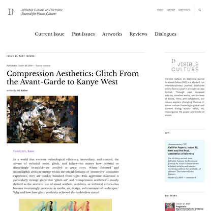 Compression Aesthetics: Glitch From the Avant-Garde to Kanye West