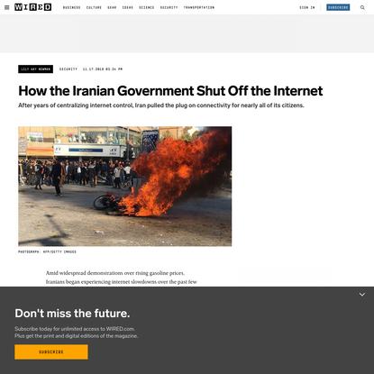 How Iran's Government Shut Off the Internet
