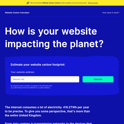 Website Carbon Calculator   How is your website impacting the planet?