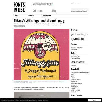 Tiffany's Attic logo, matchbook, mug