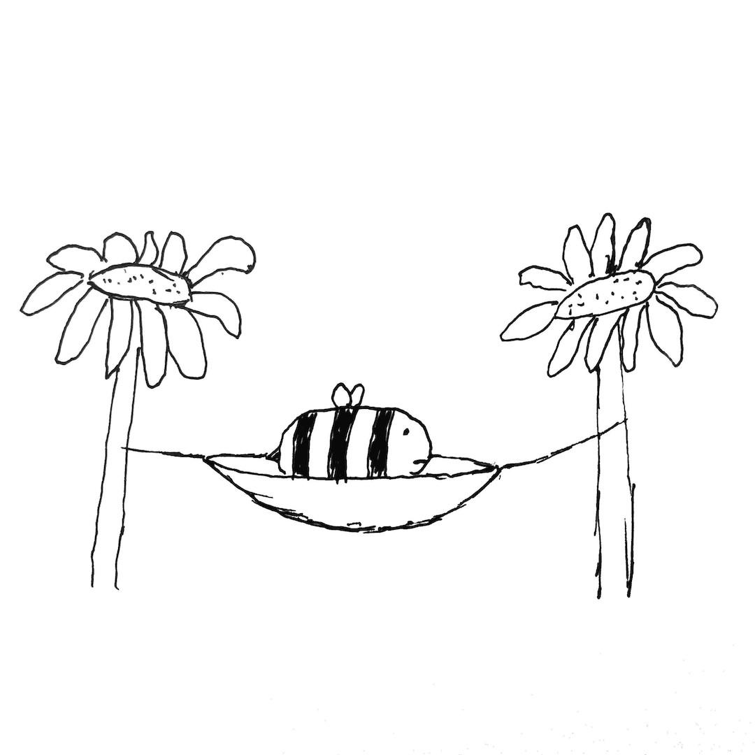 between two flowers