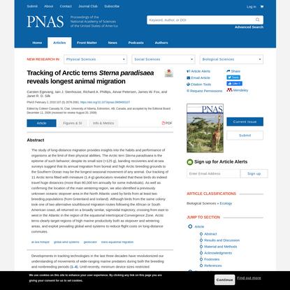 Tracking of Arctic terns Sterna paradisaea reveals longest animal migration