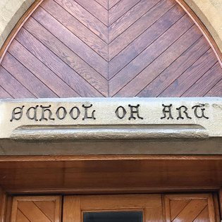 'School of Art' engraving on the Guildhall in Winchester. Back when Winchester School of Art was part of the Guildhall build...