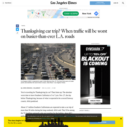Thanksgiving car trip? When traffic will be worst on busier-than-ever L.A. roads