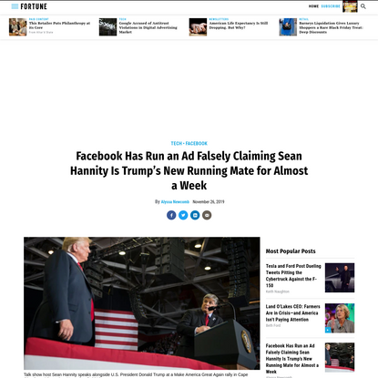 Facebook Has Run an Ad Falsely Claiming Sean Hannity Is Trump's New Running Mate for Almost a Week